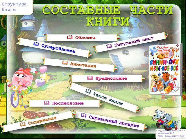 Педагог-Библиотекарь Казакова В.Д МКОУ Знаменская СОШ Структура Книги