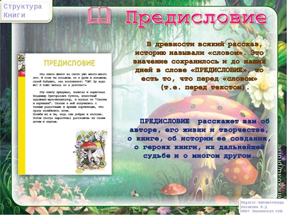 Структура Книги Педагог-Библиотекарь Казакова В.Д МКОУ Знаменская СОШ