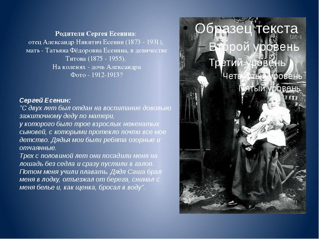 Родители Сергея Есенина: отец Александр Никитич Есенин (1873 - 1931), мать...