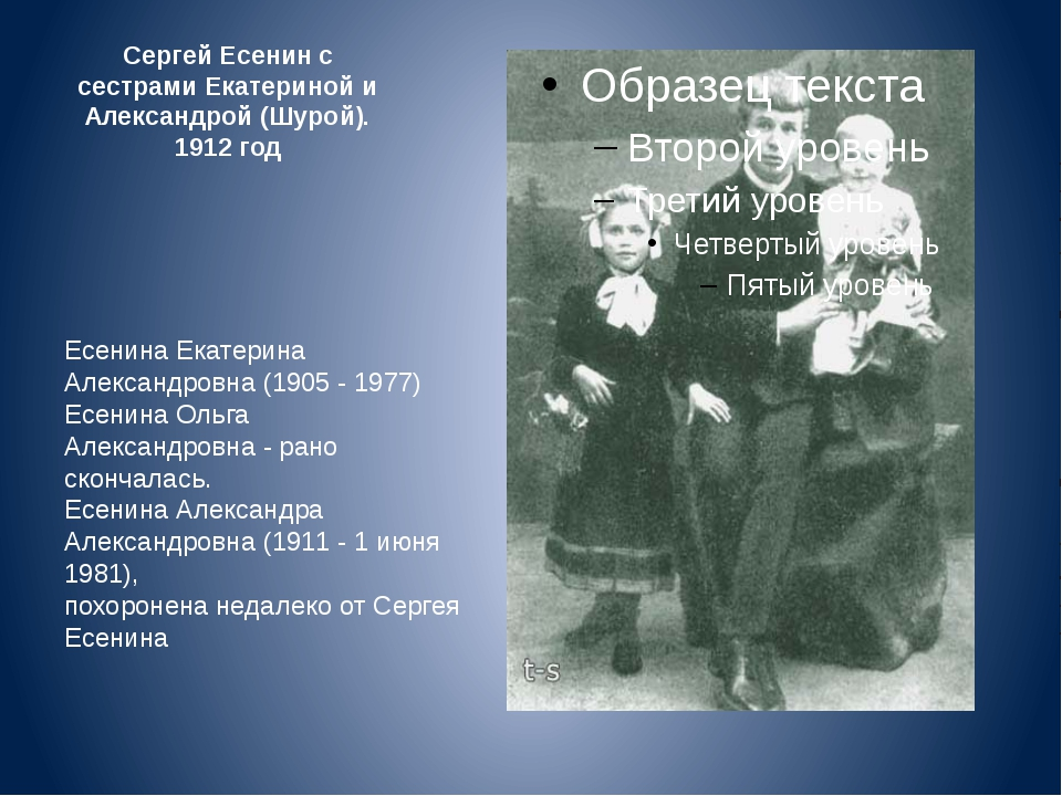 Сергей Есенин с сестрами Екатериной и Александрой (Шурой). 1912 год Есенина Е...