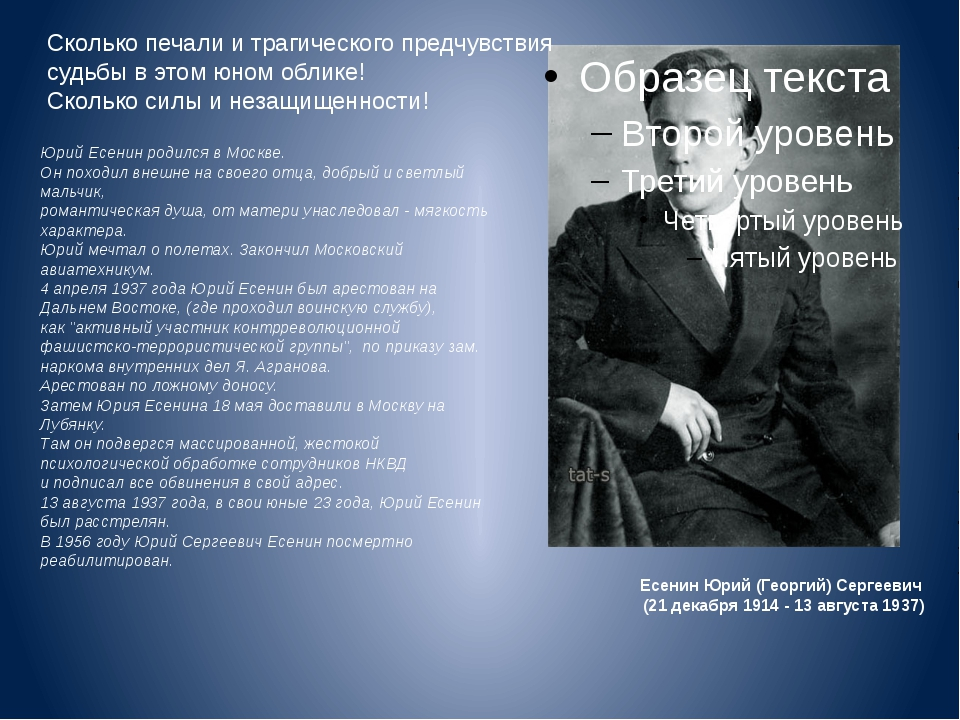 Есенин Юрий (Георгий) Сергеевич (21 декабря 1914 - 13 августа 1937) Юрий Есен...