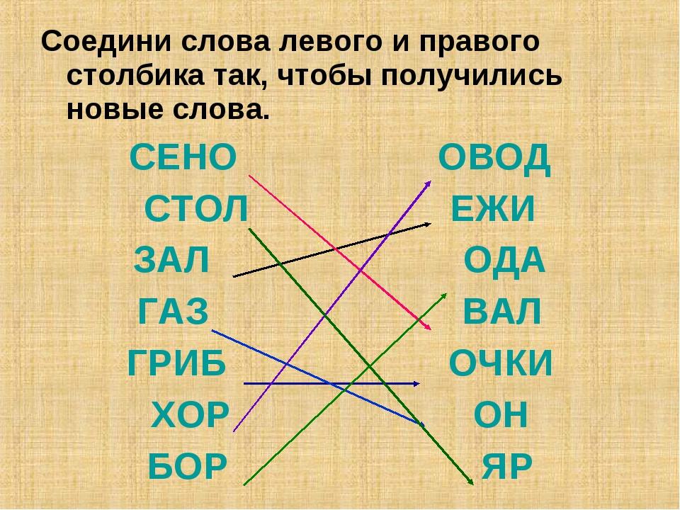 Соедини слова левого и правого столбика так, чтобы получились новые слова. СЕ...