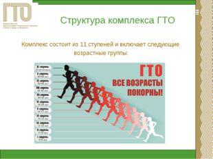 Структура комплекса ГТО Комплекс состоит из 11 ступеней и включает следующие