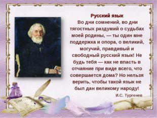 Русский язык Во дни сомнений, во дни тягостных раздумий о судьбах моей родины
