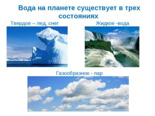 Вода на планете существует в трех состояниях Газообразное - пар Твердое – лед