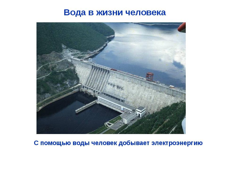 Вода в жизни человека С помощью воды человек добывает электроэнергию