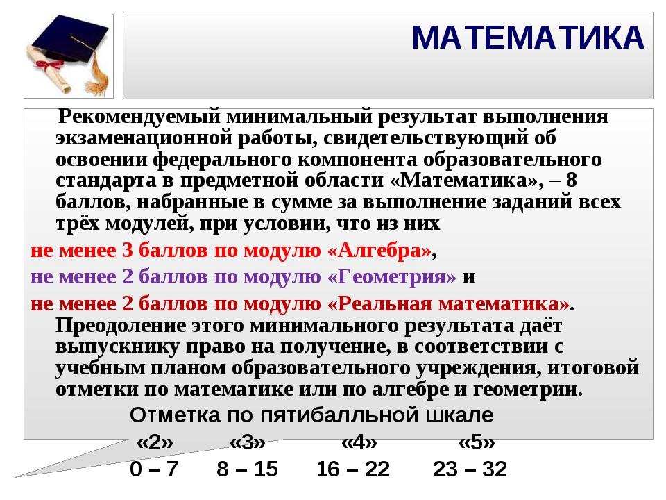 МАТЕМАТИКА Рекомендуемый минимальный результат выполнения экзаменационной ра...