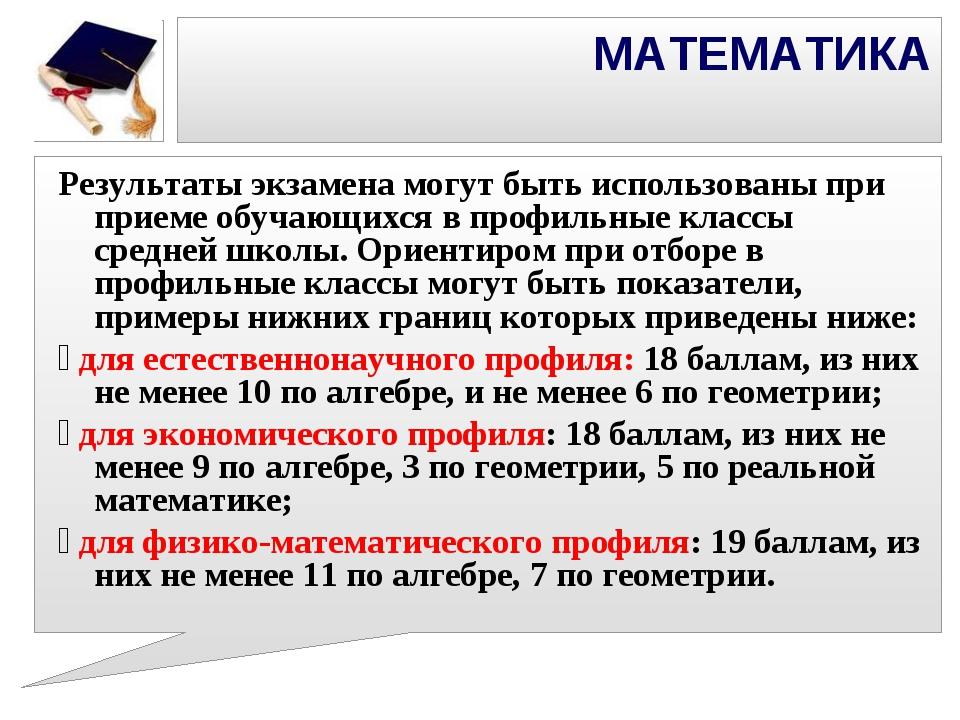 МАТЕМАТИКА Результаты экзамена могут быть использованы при приеме обучающихс...