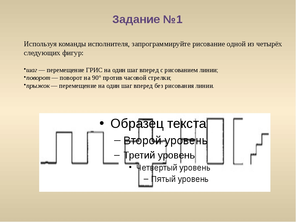 Задание №1 Используя команды исполнителя, запрограммируйте рисование одной из...