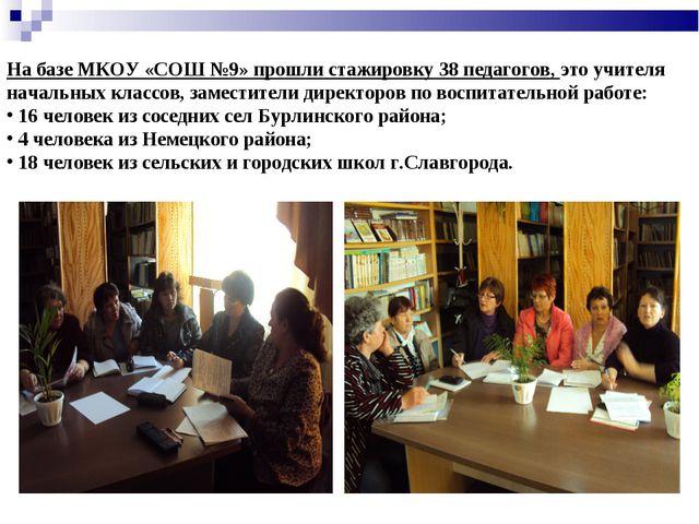 На базе МКОУ «СОШ №9» прошли стажировку 38 педагогов, это учителя начальных к...