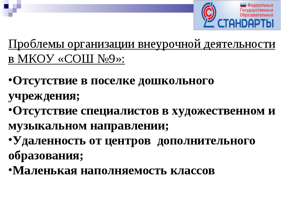 Проблемы организации внеурочной деятельности в МКОУ «СОШ №9»: Отсутствие в по...