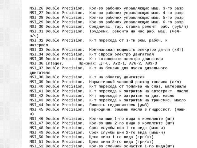 NSI_26 Double Precision, Кол-во рабочих управляющих маш. 3-го разр NSI_27 Dou...