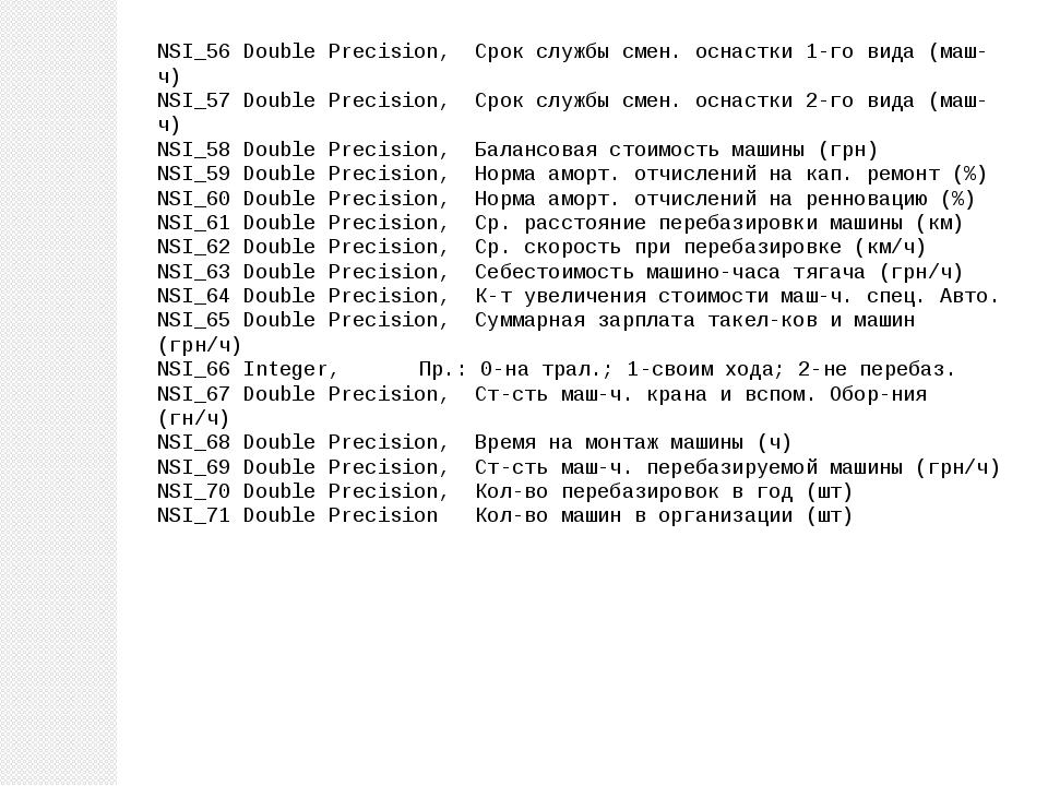 NSI_56 Double Precision, Срок службы смен. оснастки 1-го вида (маш-ч) NSI_57...