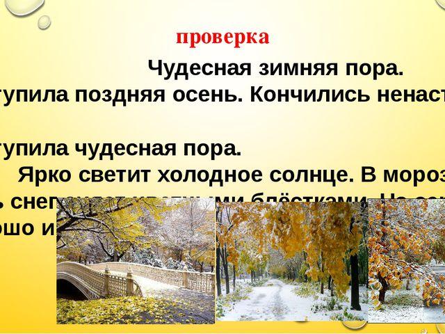 проверка Чудесная зимняя пора. Наступила поздняя осень. Кончились ненастные д...