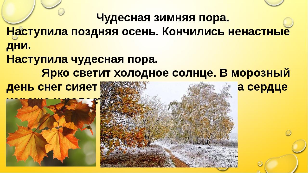 Чудесная зимняя пора. Наступила поздняя осень. Кончились ненастные дни. Наст...