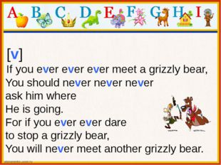 [v] If you ever ever ever meet a grizzly bear, You should never never never a