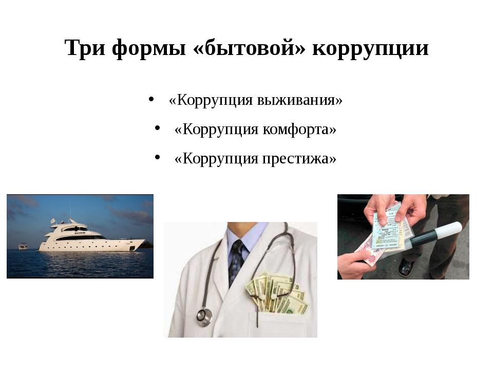 Три формы «бытовой» коррупции «Коррупция выживания» «Коррупция комфорта» «Кор...