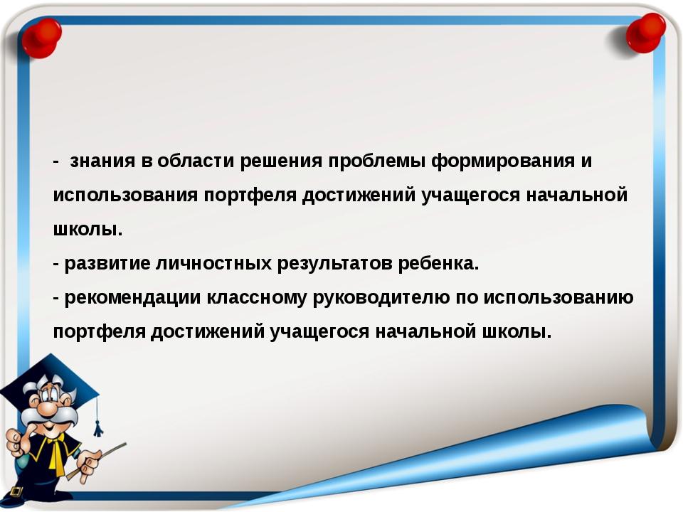 - знания в области решения проблемы формирования и использования портфеля дос...