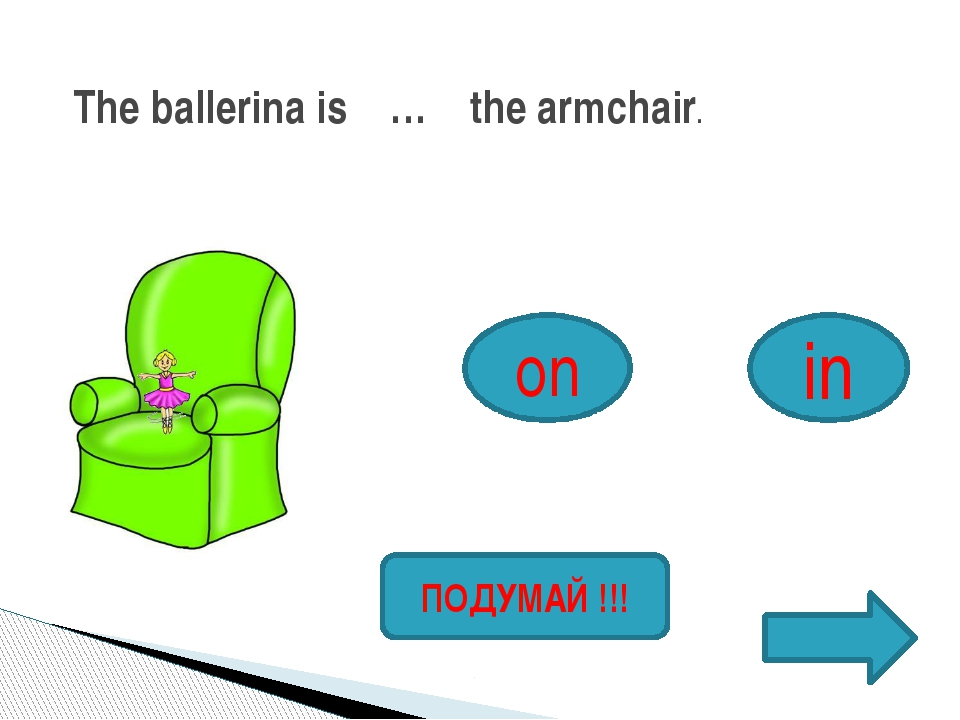 The ballerina is … the armchair. on in ПОДУМАЙ !!!