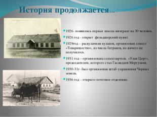 История продолжается… 1926- появились первая школа-интернат на 30 человек. 19
