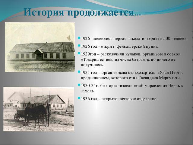 История продолжается… 1926- появились первая школа-интернат на 30 человек. 19...