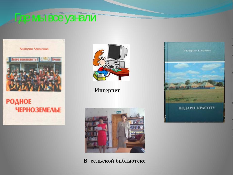 Где мы все узнали Интернет В сельской библиотеке