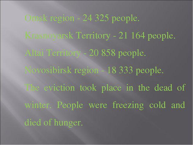 Omsk region - 24 325 people. Krasnoyarsk Territory - 21 164 people. Altai Ter...
