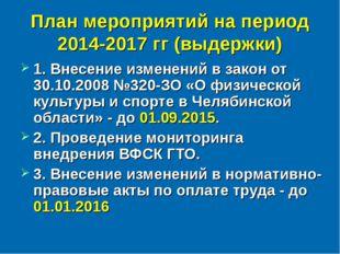План мероприятий на период 2014-2017 гг (выдержки) 1. Внесение изменений в за