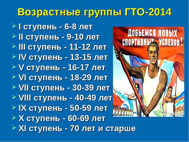 Возрастные группы ГТО-2014 I ступень - 6-8 лет II ступень - 9-10 лет III ступ...