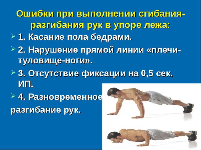 Ошибки при выполнении сгибания-разгибания рук в упоре лежа: 1. Касание пола б...