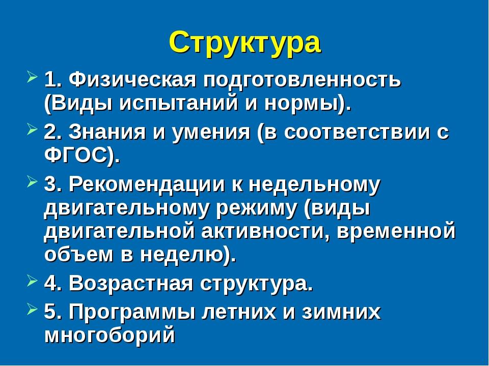 Структура 1. Физическая подготовленность (Виды испытаний и нормы). 2. Знания...