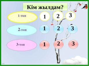 1-топ 3-топ 2-топ 2 3 3 2 1 3 2 1 1 Кім жылдам? Б.Т.В.