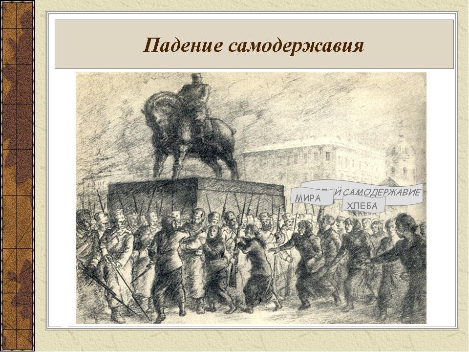 Падение самодержавия Причины революции ДОЛОЙ САМОДЕРЖАВИЕ ХЛЕБА МИРА