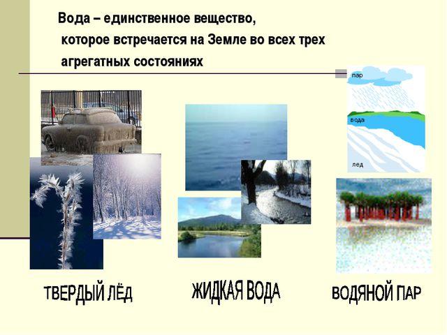 Вода – единственное вещество, которое встречается на Земле во всех трех агре...