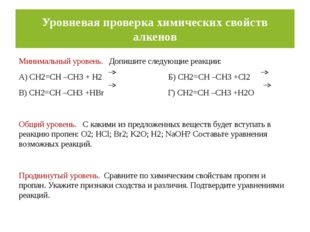 Уровневая проверка химических свойств алкенов Минимальный уровень. Допишите с