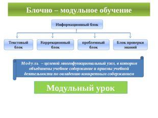 Блочно – модульное обучение Информационный блок Блок проверки знаний проблемн