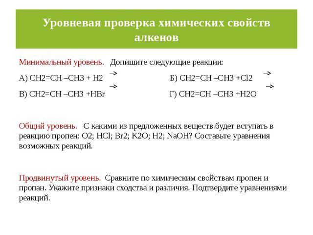 Уровневая проверка химических свойств алкенов Минимальный уровень. Допишите с...