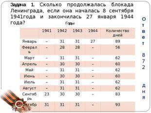 Задача 1. Сколько продолжалась блокада Ленинграда, если она началась 8 сентяб