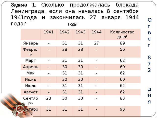 Задача 1. Сколько продолжалась блокада Ленинграда, если она началась 8 сентяб...
