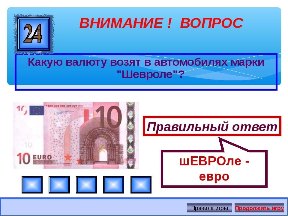 """Какую валюту возят в автомобилях марки """"Шевроле""""? ВНИМАНИЕ ! ВОПРОС Правильны..."""