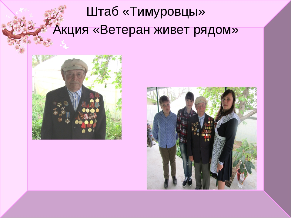 Штаб «Тимуровцы» Акция «Ветеран живет рядом»