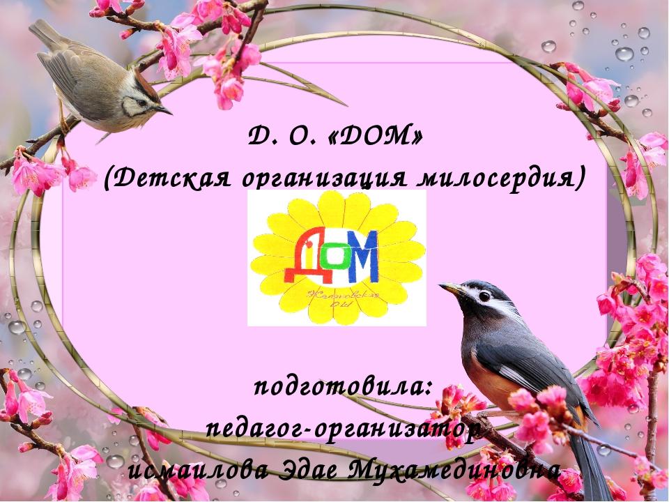 Д. О. «ДОМ» (Детская организация милосердия) подготовила: педагог-организатор...