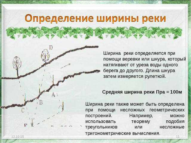 * * Ширина реки также может быть определена при помощи несложных геометрическ...