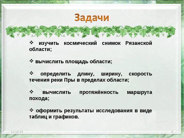 * * изучить космический снимок Рязанской области; вычислить площадь области;...