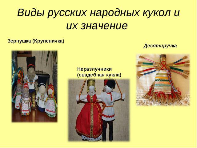 Виды русских народных кукол и их значение Зернушка (Крупеничка) Неразлучники...