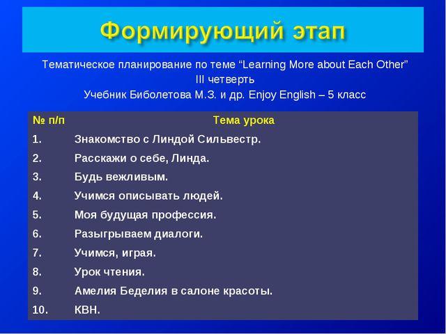 """Тематическое планирование по теме """"Learning More about Each Other"""" III четвер..."""