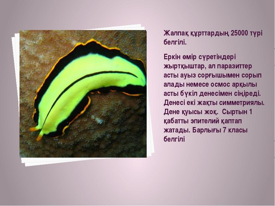 Жалпақ құрттардың 25000 түрі белгілі. Еркін өмір сүретіндері жыртқыштар, ал...