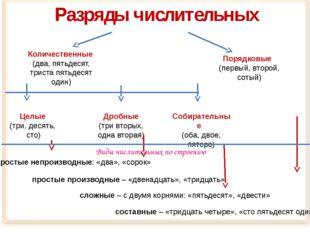 Разряды числительных Количественные (два, пятьдесят, триста пятьдесят один) С
