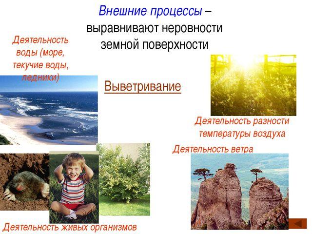 Внешние процессы – выравнивают неровности земной поверхности Выветривание Дея...