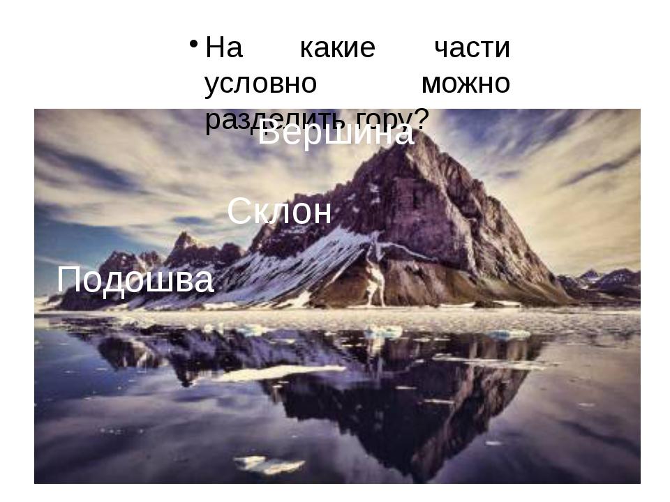 На какие части условно можно разделить гору? Подошва Склон Вершина